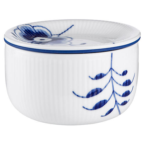 Fluted Mega Small Storage Jar, Blue/White