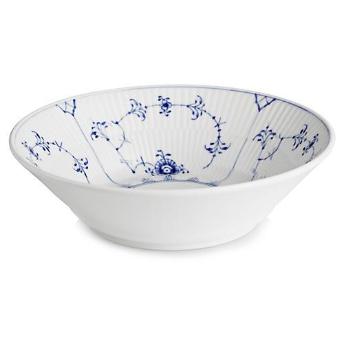 Fluted Plain Dessert Bowl, Blue/White