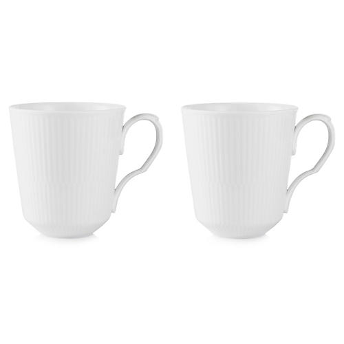 S/2 Fluted Coffee Mugs, White
