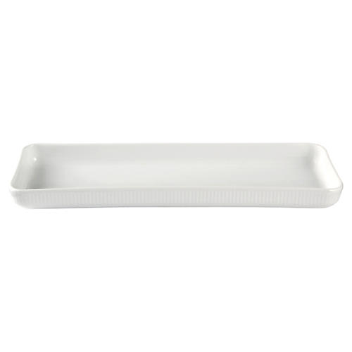 Fluted Oblong Serving Plate, White