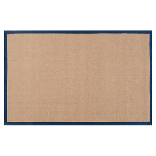 Soho Jute Rug, Tan/Navy