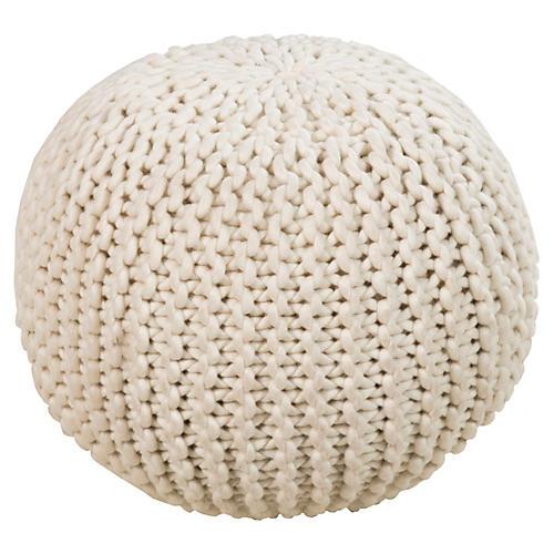 Cassie Knit Pouf, Cream