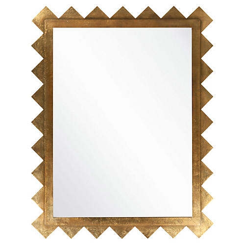 Edged Deco Oversize Mirror, Gold
