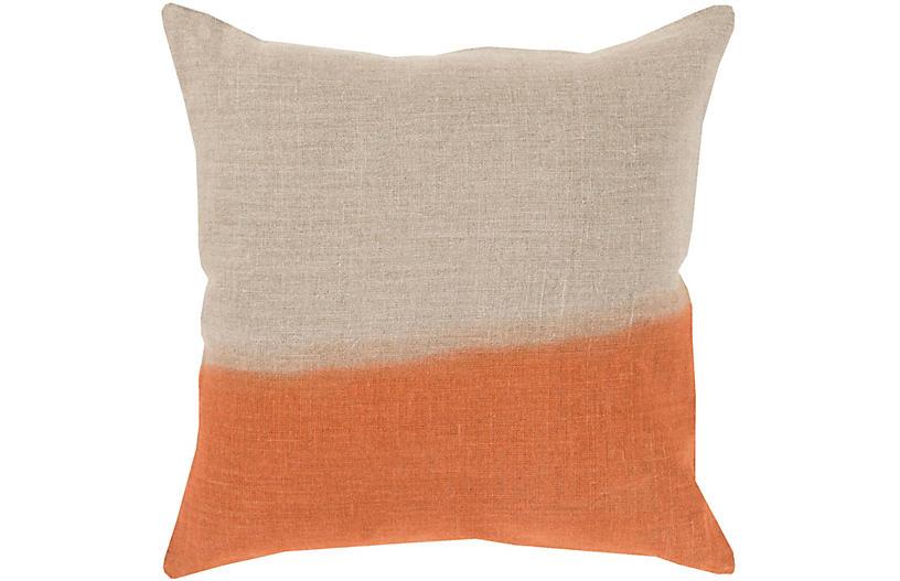 Dip-Dyed Pillow, Khaki/Orange Linen