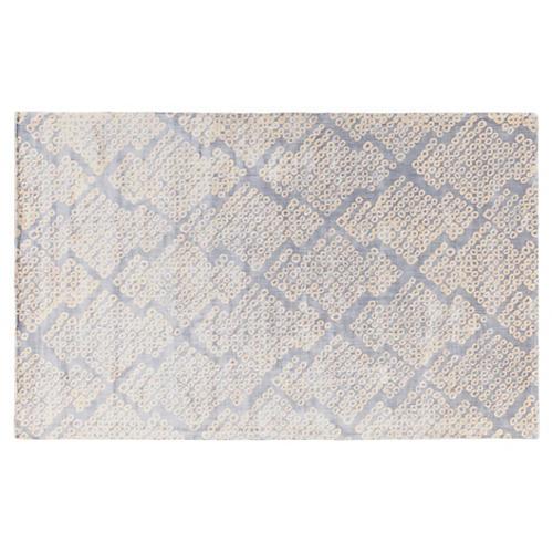 Kuje Flat-Weave Rug, Slate Blue