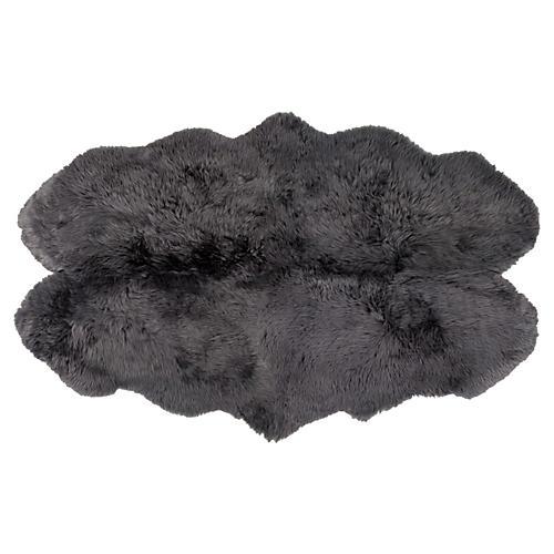 4'x6' Sheepskin Rug, Gray