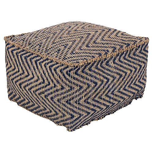Bodega Sea Grass-Blend Pouf, Navy/Beige