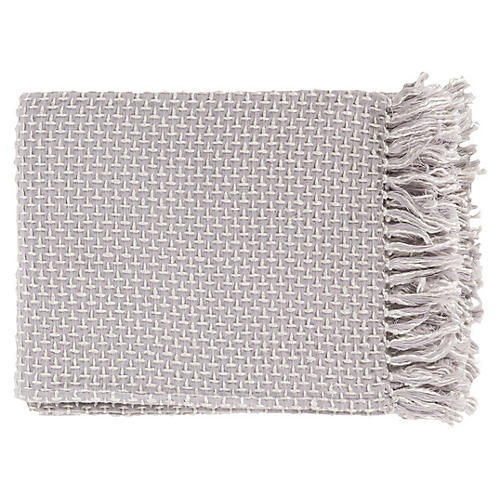 Tierney 50x60 Throw, Light Gray/Ivory