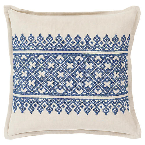 Pentas Decorative Pillow, Blue/Khaki