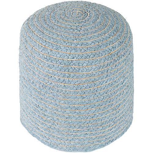 Pinmar Round Pouf, Light Blue
