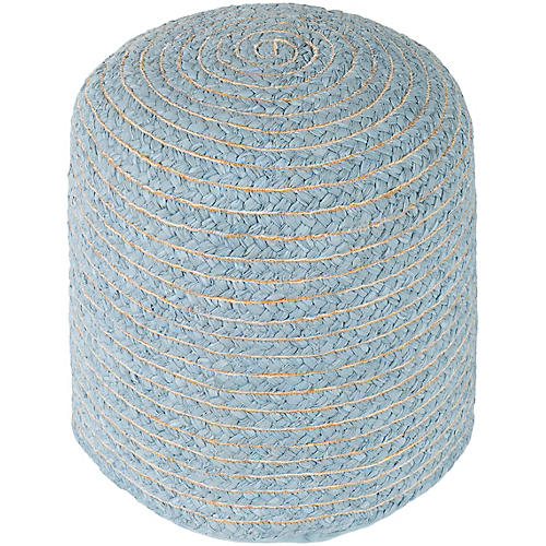 Pinmar Round Pouf, Light Blue