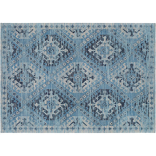 Brock Handwoven Rug, Blue/Ivory