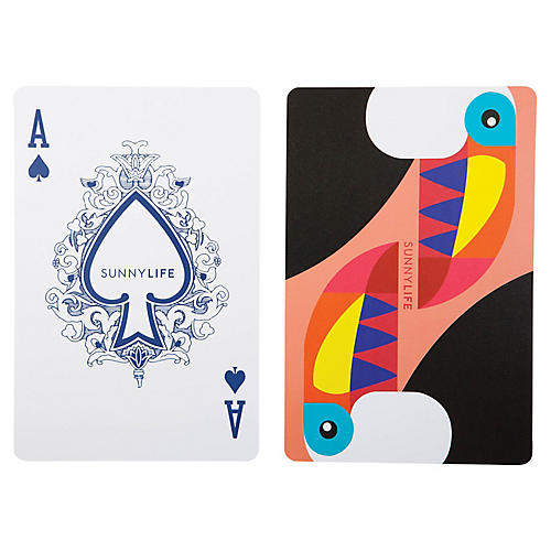 Giant Toucan Playing Cards, White/Multi