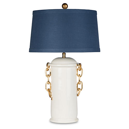 Blue Ariamini, Table Lamp, Cream Leaf