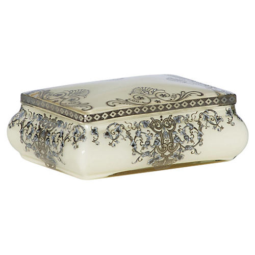 "7"" Filigree Box, Cream"