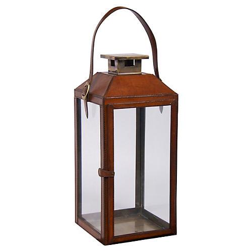"19"" Augustine Leather Lantern"