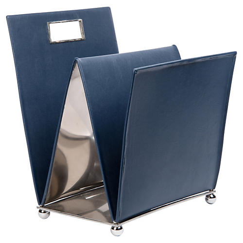 "20"" Leather Harper Magazine Rack, Blue"