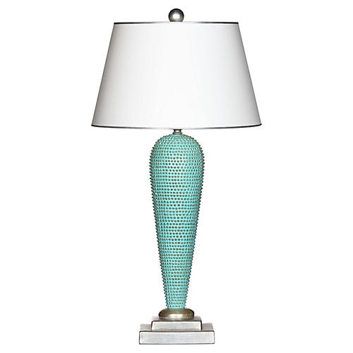 Benjamin Table Lamp, Blue Glaze