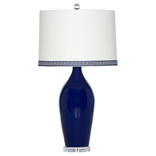 Rosalie Key Table Lamp, Blue Glaze