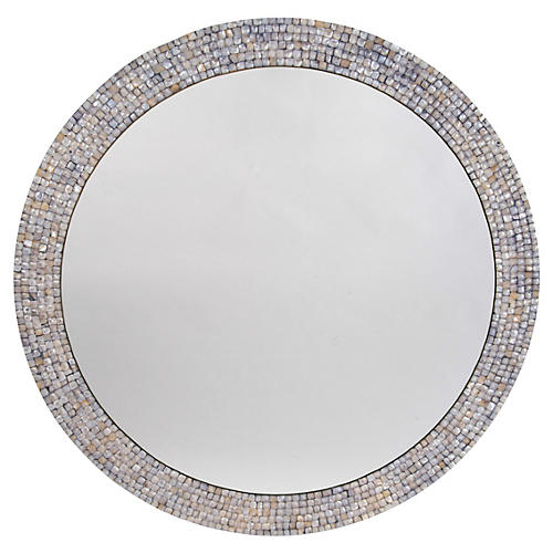 "Mother-of-Pearl 36"" Wall Mirror, Blue"