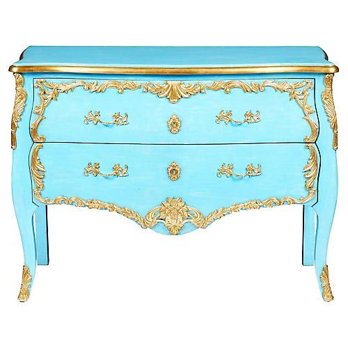 Antiqued Dresser, Blue/Gold Leaf