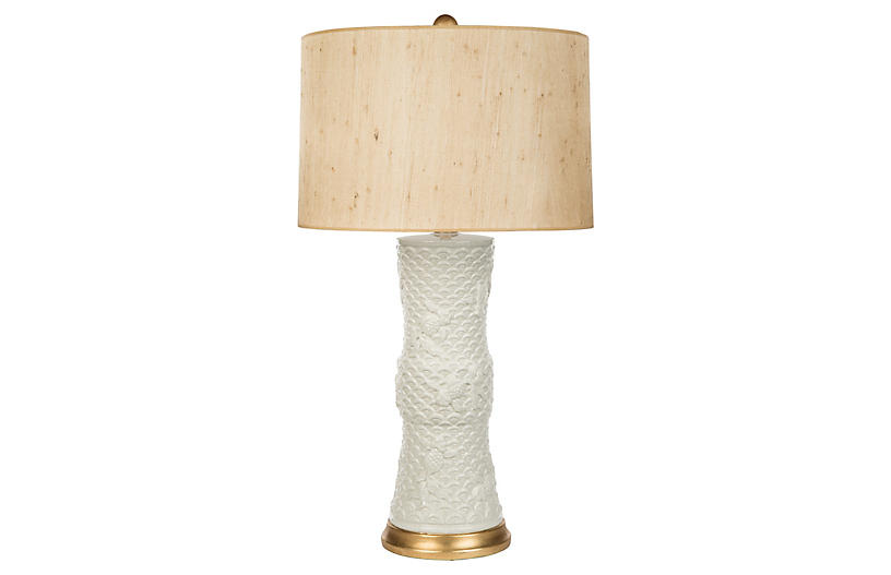 Koi Fish Couture Table Lamp, Cream/Gold