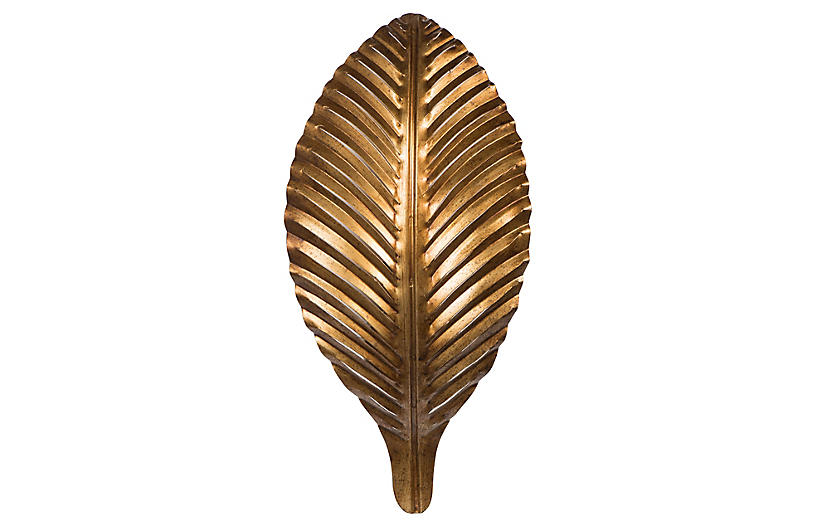 Leaf Sconce, Antiqued Gold