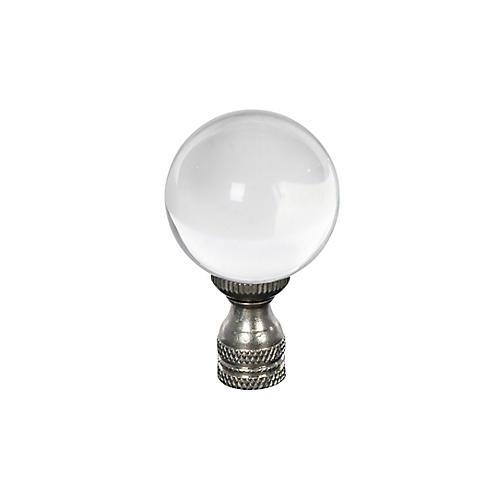 "2.5"" Italian Glass Finial, Clear/Silver"