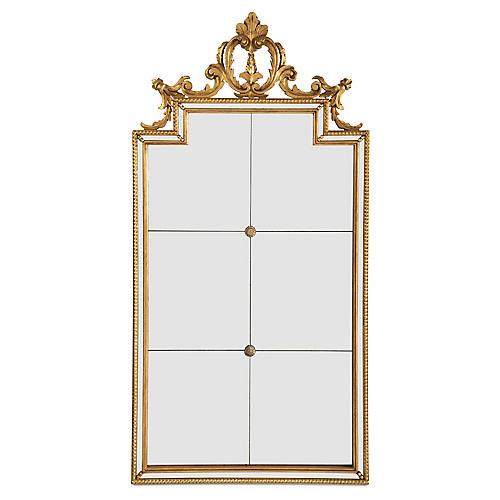 "Six-Panel 22""x44"" Wall Mirror, Gold"
