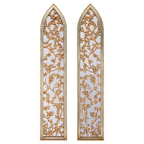 S/2 Vine Motif Panels, Gold/Silver