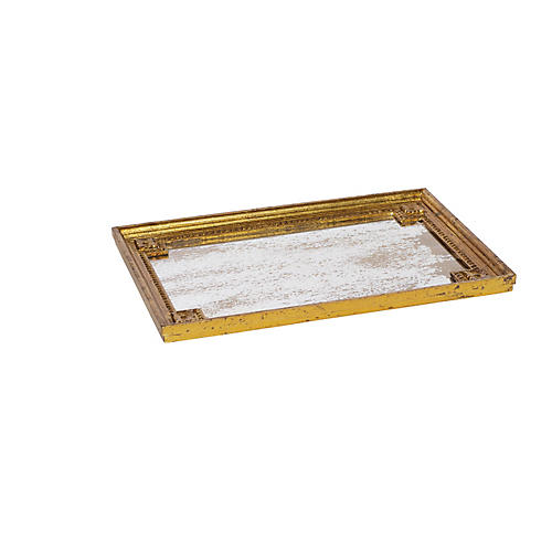 "21"" Decorative Tray, Gold/Mirrored"