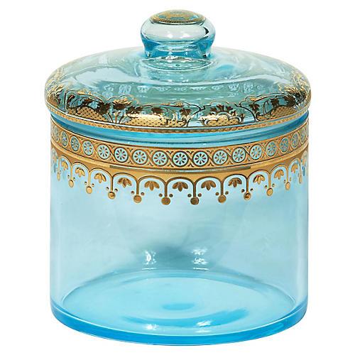 "5"" Decorative Jar, Transparent Blue/Gold"