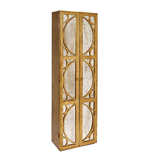 Falls Mirrored Cabinet, Antiqued Gold