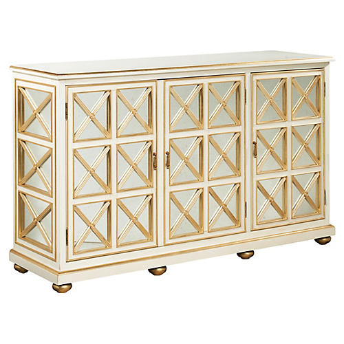 "Grove 65"" Mirrored Sideboard, Cream"
