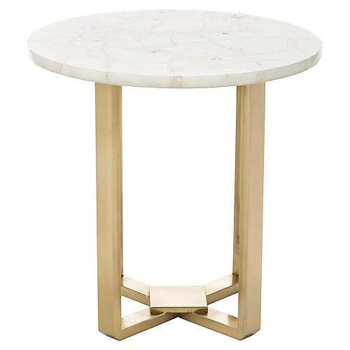 Bonner Quartz Side Table, Gold/White