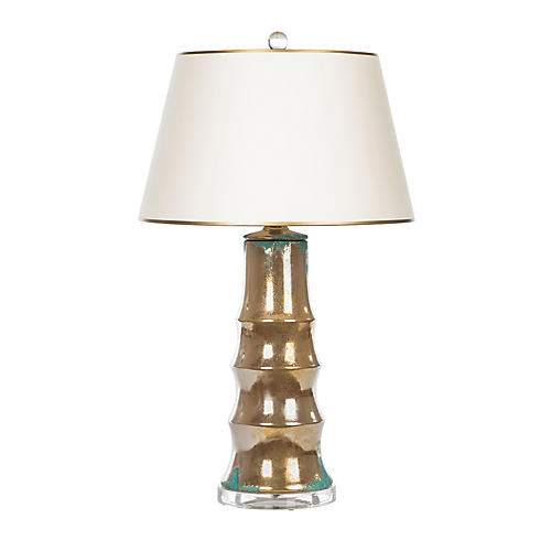 Carmel Table Lamp, Bronze/Teal