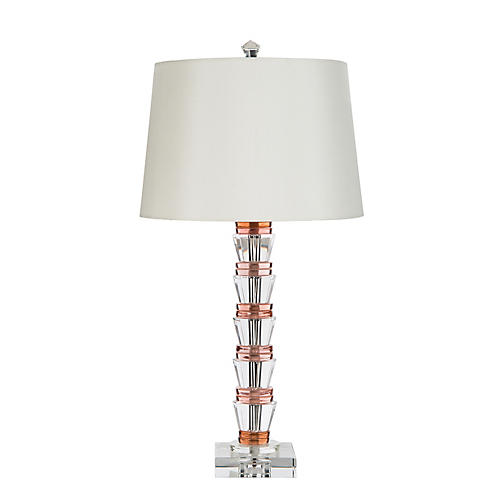 Eden Table Lamp, Pink/Clear