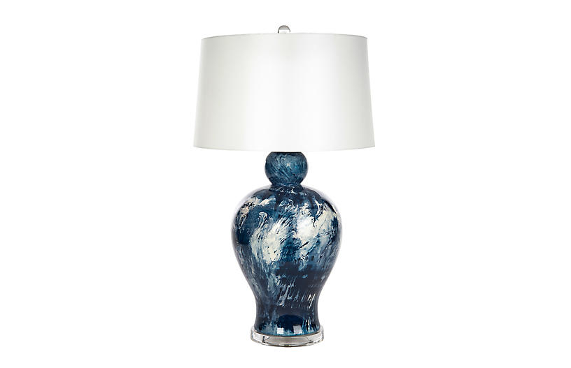 Payton Table Lamp, Navy/White Swirl
