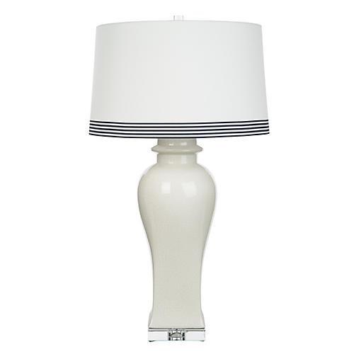Bona Table Lamp, White Crackle