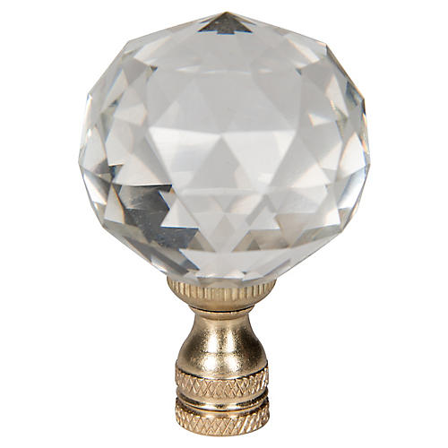 Crystal Ball Finial, Clear/Gold