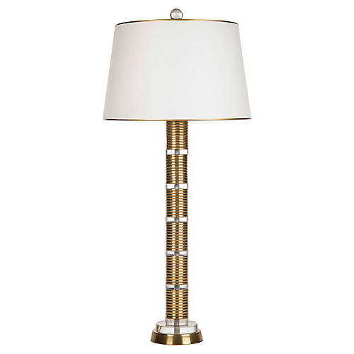 Stacked Column Crystal Table Lamp, Gold