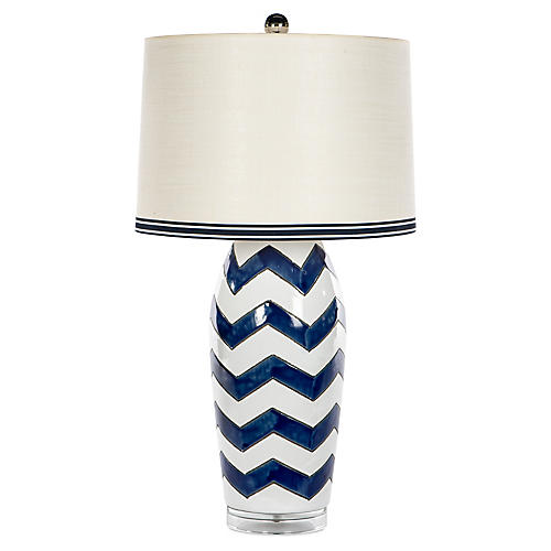 Kaitlin Couture Table Lamp, Navy/White