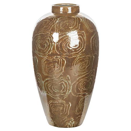 "13"" Abstract Rose Vase, Brown/Beige"