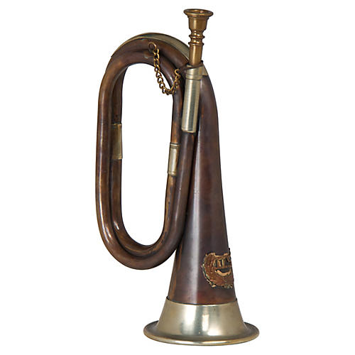 "12"" Horn Accent Piece, Antiqued Brass"