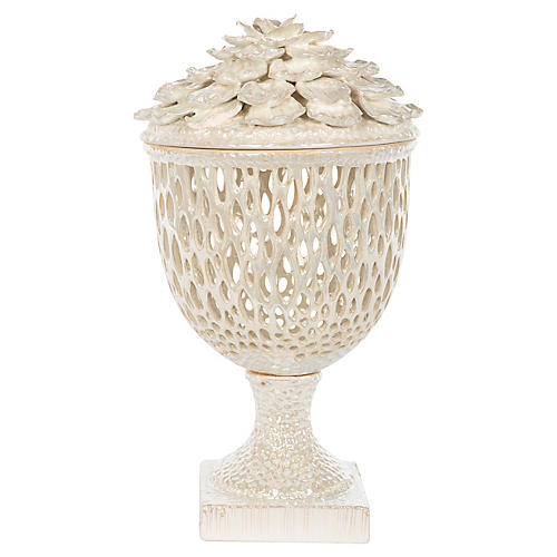 "17"" Pearl Openwork Jar, Off-White"