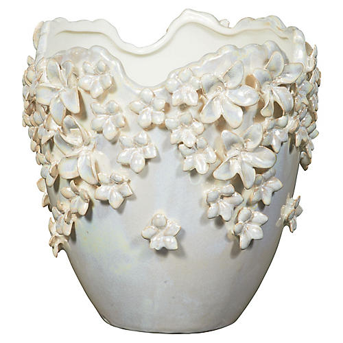 "9"" Scattered Flowers Planter, Pearl"