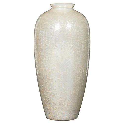 "19"" Faux-Snakeskin Vase, Pearl"