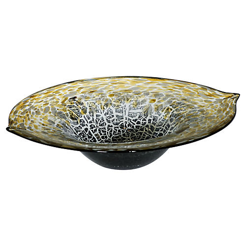 "16"" Zebra Decorative Bowl, Gold/Black"