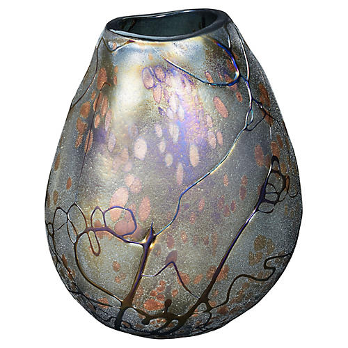"12"" Swirl Vase, Iridescent"