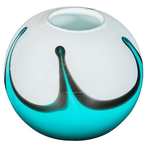 Roller Vase, Aqua/White